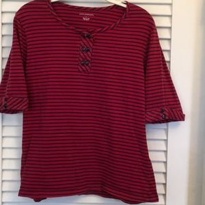 Red and Navy stripe Henley knit shirt